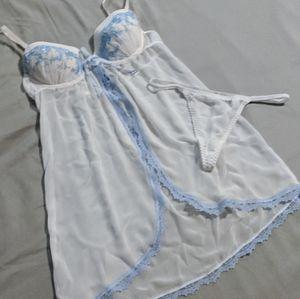 Apt 9 Babydoll Lingerie - White/Blue
